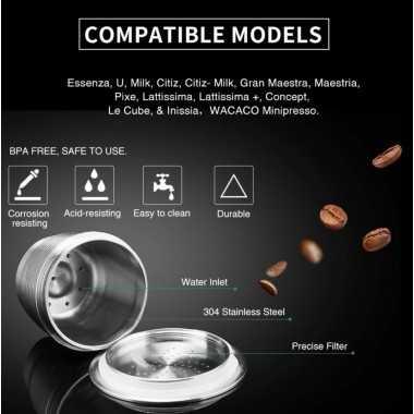 Επαχρησιμοποιούμενη ανοξείδωτη κάψουλα nespresso BOOBAM