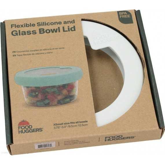Καπάκι γυάλινο με σιλικόνη XSmall Λευκό- LDXS1SW - Food Huggers