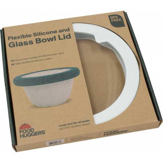 Καπάκι γυάλινο με σιλικόνη Large Λευκό- LDL1SW - Food Huggers